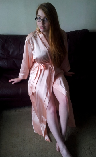Camille Peach Robe sitting1