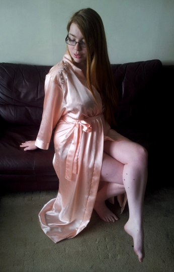 Camille Peach Robe sitting2